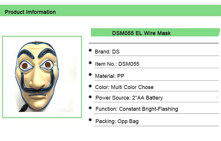 La Casa De Papel PVC Paper Mask Salvador Dali Money Heist Neon Party Mask