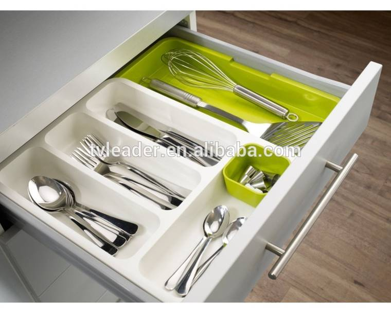 TV items drawer storage box ABS expandable cutlery tray white+green