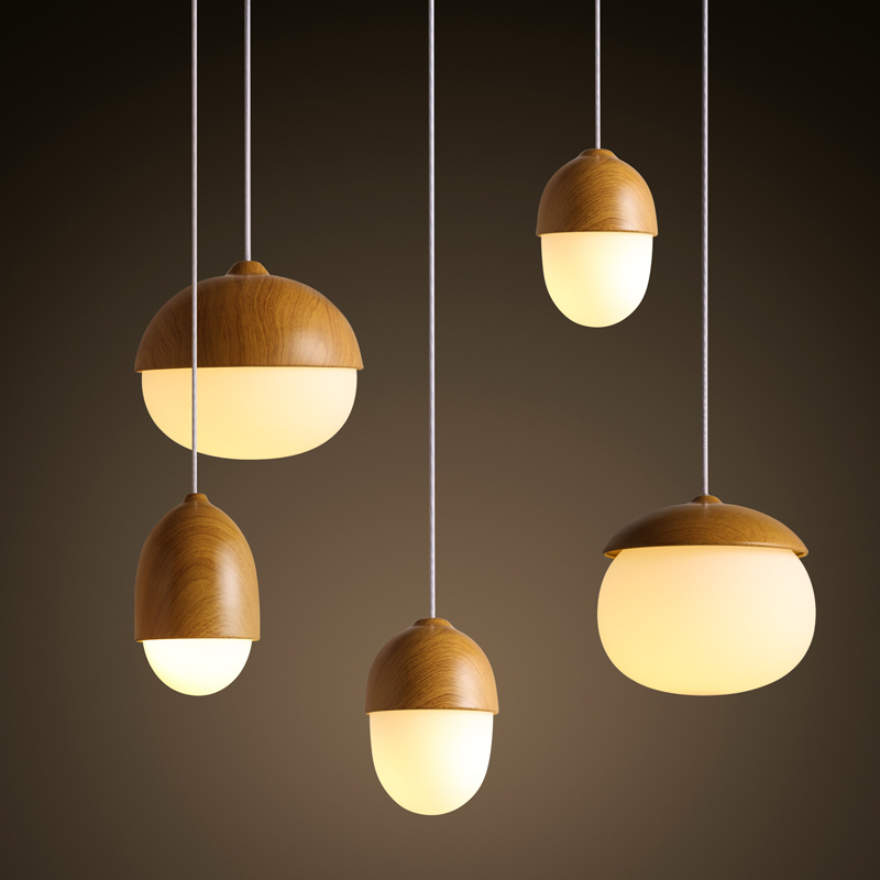 Wood Nuts Shaped Handing Lamp Led Modern Pendant Lamp For Home ...