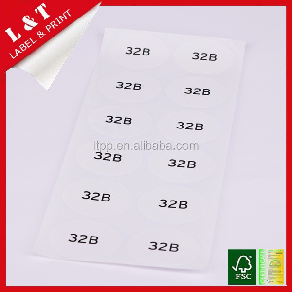 Professional custom number sticker for clothing
