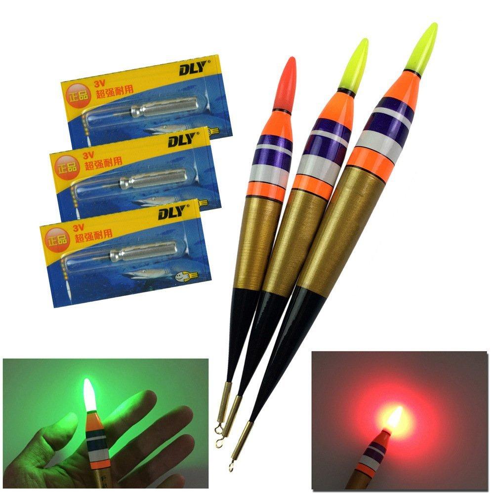 QualyQualy LED Electronic Fishing Float Saltwater Sea Rock Fishing Floats 3.7g 7.5g 11.3g Luminous Fishing Buoys Balsa Wood Lighting Bobbers 3Pcs/Lot