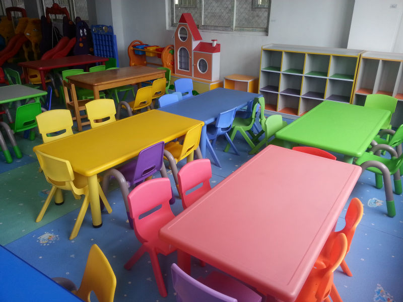 Fire Proof Wood Preschool Chairs And Tables 6 Seats