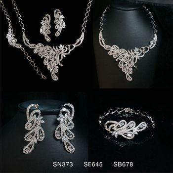 thailand silver jewelry multicolor cubic zircon jewelry set wedding