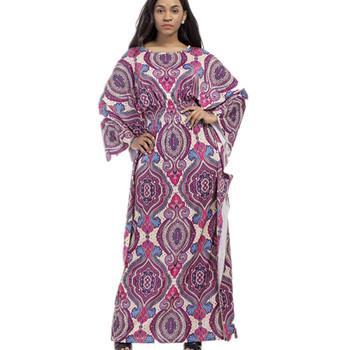 c6000ed612bee 2018 Plus size women clothing Fashion elegant long sleeve printed boho  bohemian beach maxi dresses African