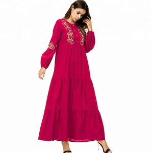 7235 Plus size women's embroidery long sleeved Muslim prayer robes big swing skirt cotton linen red maxi dress