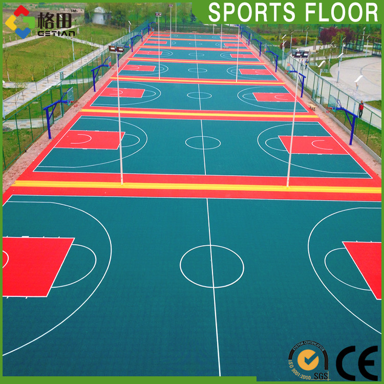 Shock absorption basketball court price portable for Cost for basketball court