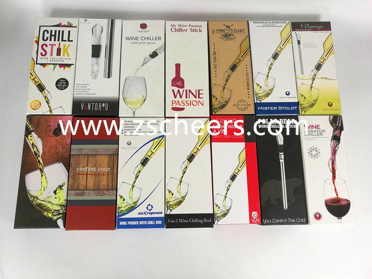 Direct Usine FDA & LFGB Approuvé Bâton de Refroidisseur De Vin, 3-en-1 En Acier Inoxydable Refroidisseur de Vin, Refroidisseur De Vin De Tige
