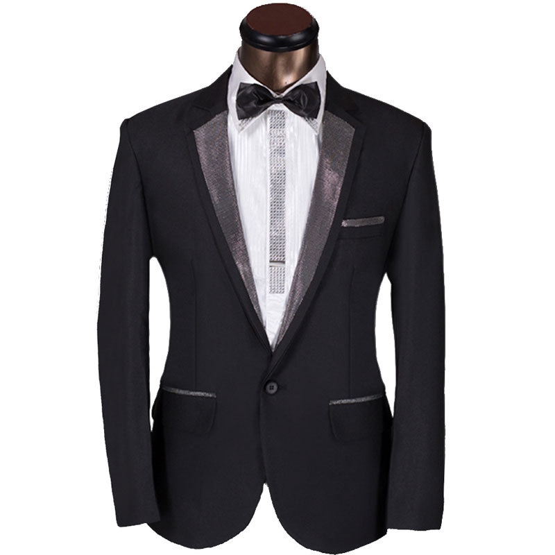 2015 New Arrival Men Suit Elegant Design Mens Dark Sliver Lapel Prom Tuxedo Suit With Pants Groom Party Wedding Suit For Men 6Xl