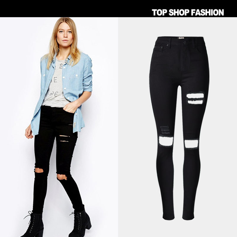 a279cdc17 Detail Feedback Questions about Fetoo Black Ripped Jeans Women High ...