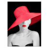 Black and White Lady Wearing Red Hat Photo Canvas Wall Art Figure Canvas Prints Home Wall Decoration Ready to Hang