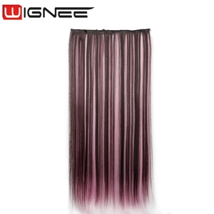 5 Clips In Straight Hair For Women Synthetic Clip Hair Extension Mixed Green Pink Blue Color Clip Hair