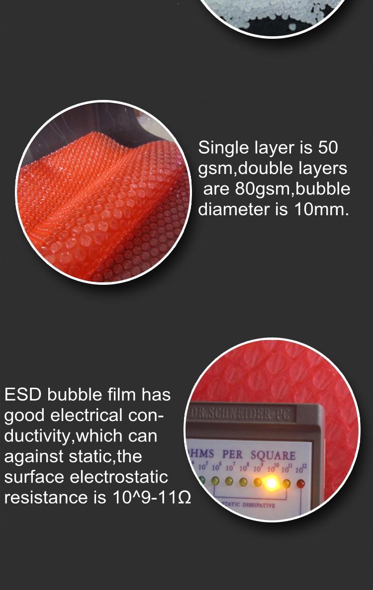 Película protetora de almofada de ar do envoltório da bolha antiestática para empacotar