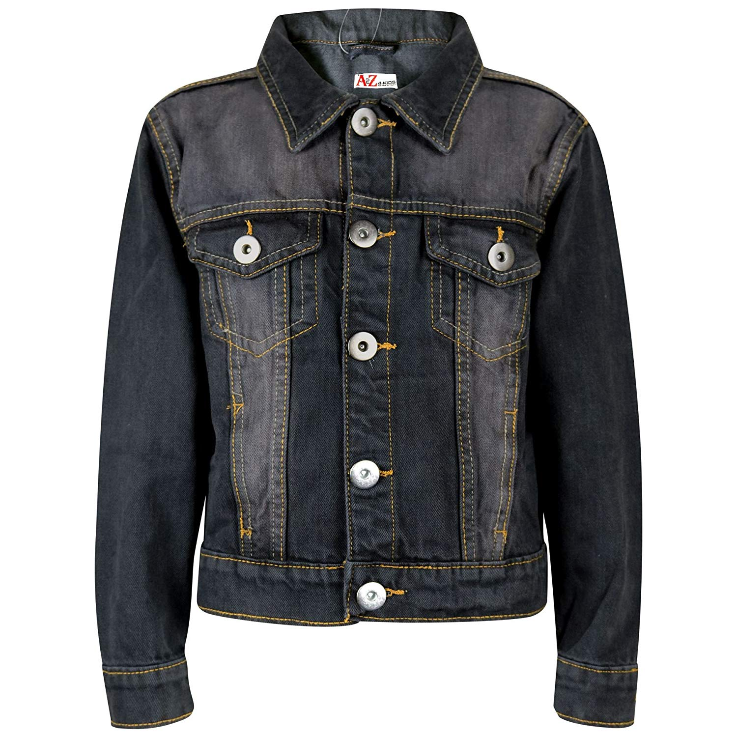b9493f804fc Get Quotations · Kids Boys Denim Jackets Designer Black Jeans Jacket  Fashion Coat New Age 3-13 Yr