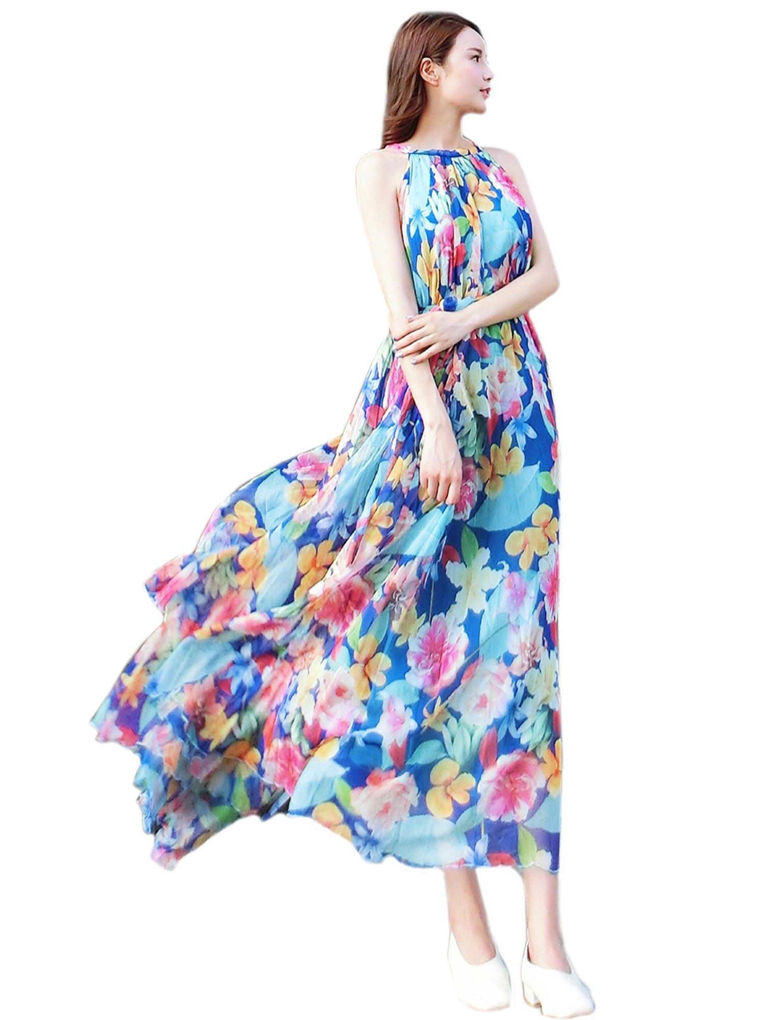 48820b493b Medeshe Women's Chiffon Floral Holiday Beach Bridesmaid Maxi Dress Sundress