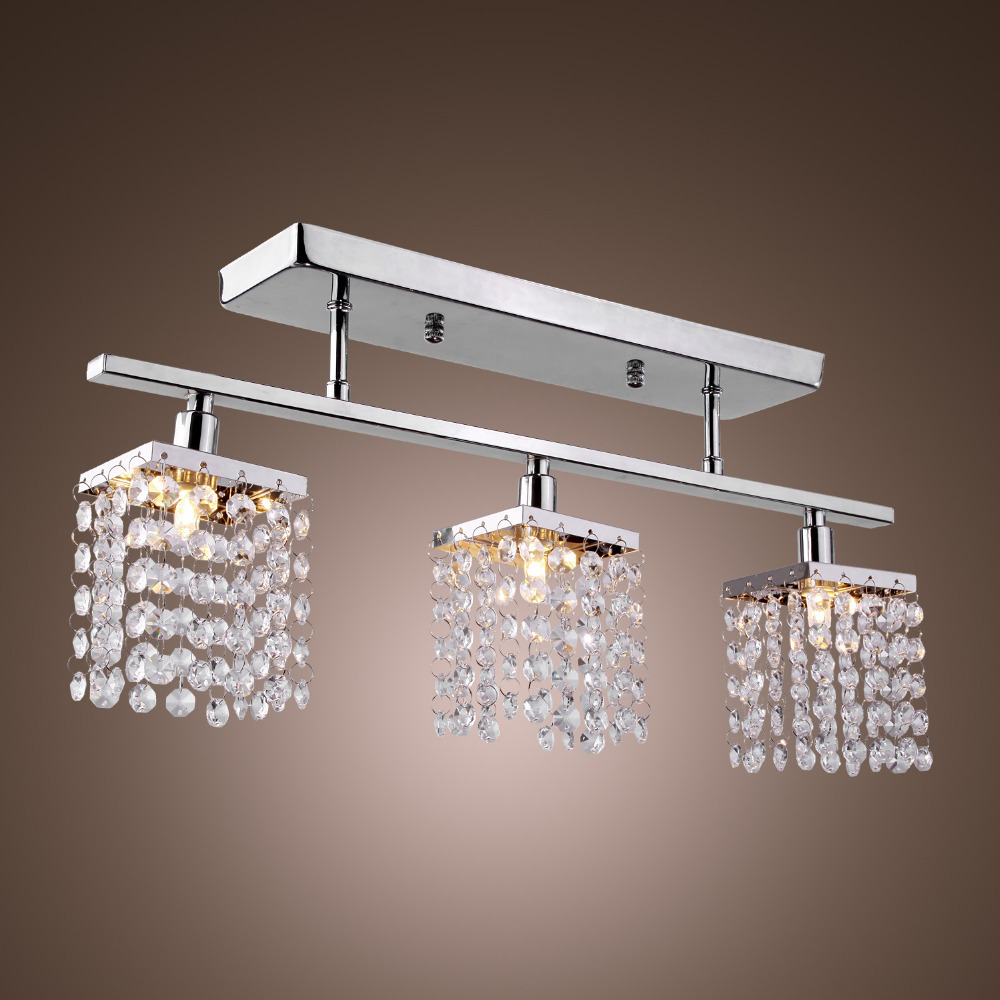 Dining Room Ceiling Light Fixtures: 3 Light Hanging Crystal Linear With Solid Metal Fixture