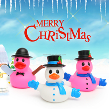 Promotional great christmas PVC pink white blue snowman rubber duck with hat for sale