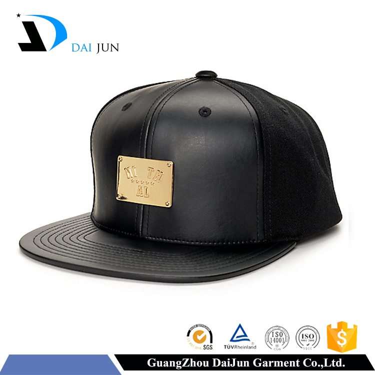 Daijun New Design OEM Hot Sale 100%Cotton Plastic Buckle Black Metal Patch Logo Men Custom Hat With Leather Strap