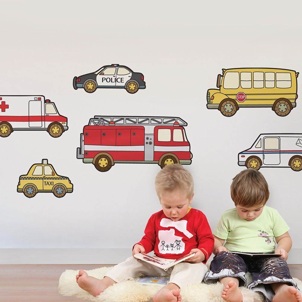 Emergency and Service Vehicle Wall Sticker - Peel and Stick - by Simple Shapes