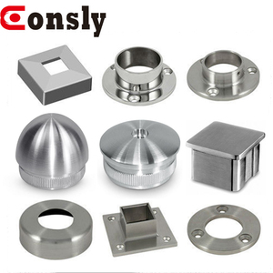 Decorative pipe flange end caps 50mm stainless steel handrail plate cover for balustrade / stair / balcony