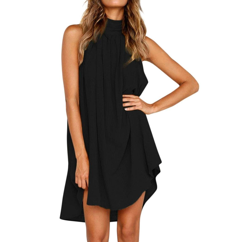 fbbad56b5ea Howstar Women s Halter Dresses Sleeveless Casual Summer Beach Dress for  Party Irregular Pleated Mini Dress
