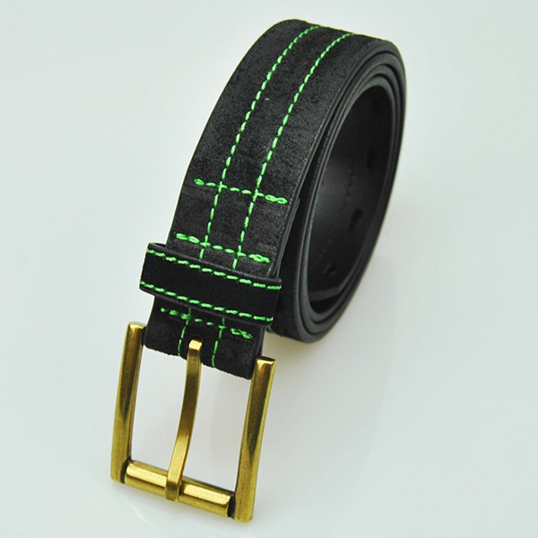 New fashion air permeable Green Lacing split leather belt for man