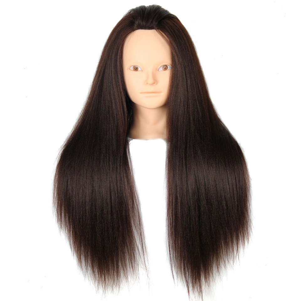 Get Quotations Mannequin Head Hair 24 Brown Yaki Synthetic Hairdressing Doll Heads Styling Training
