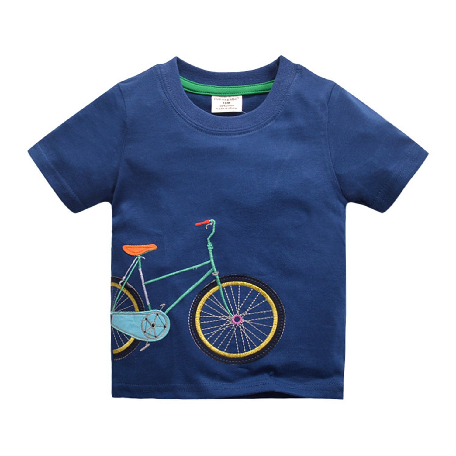 Joddie Haha Cotton Boyss New New Summer Style Children Clothing Kids Clothing Tops New Fashion Bicycle Pattern Boys T Shirts