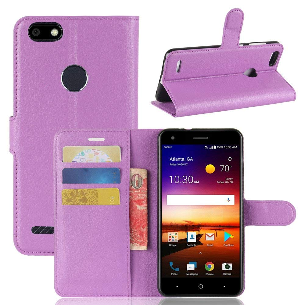 Kingru Case for ZTE Blade X Z965, TPU+PU Leather Litchi Pattern Wallet Stand Case Cover with Card Slot (Purple)
