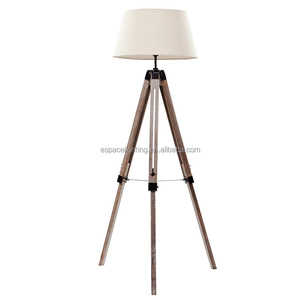 Factory lighting Chinese birch tripod floor lamp with natural wooden tripods