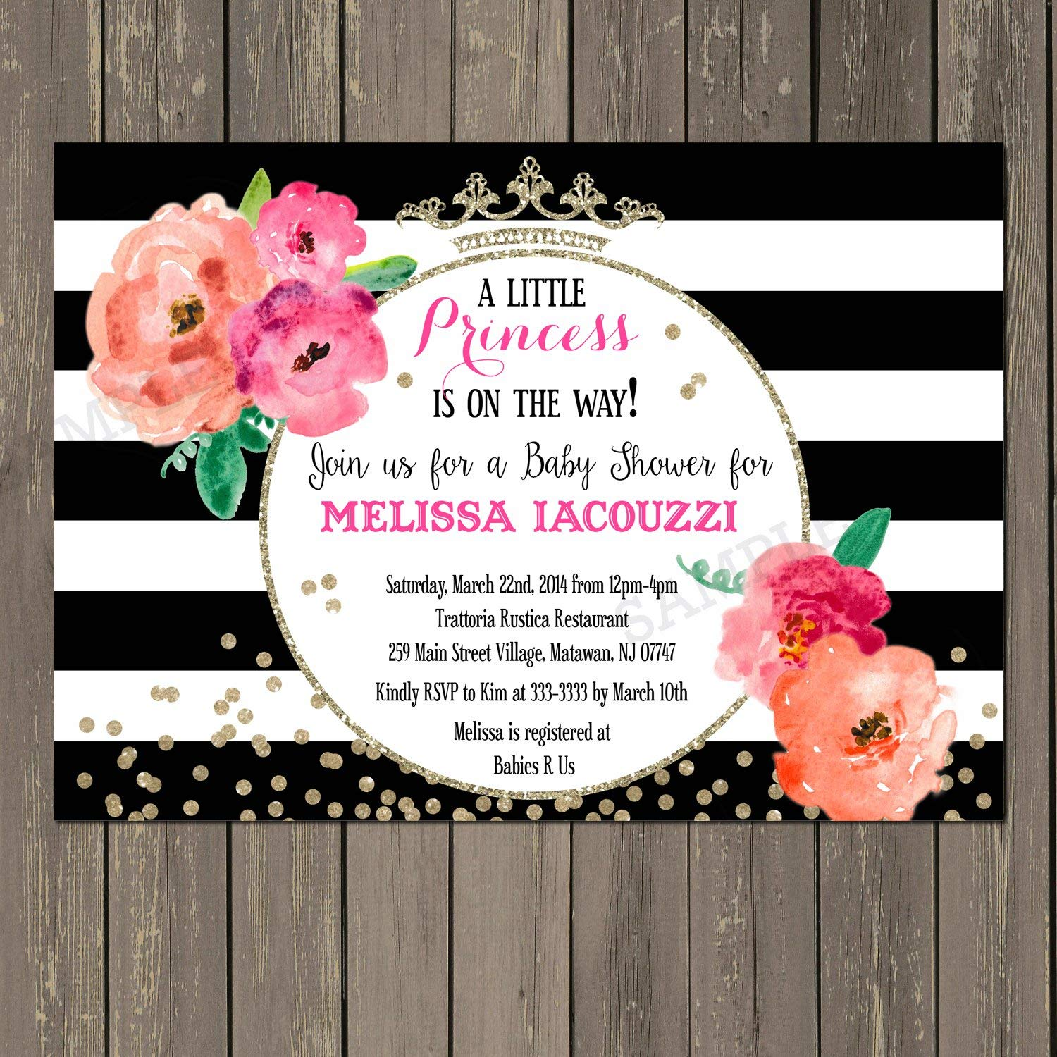 Princess Baby Shower Invitation, Floral Black & White Stripe Baby Shower Invite, Gold Glitter Look Watercolor Baby Shower, Baby Girl Shower Invitation