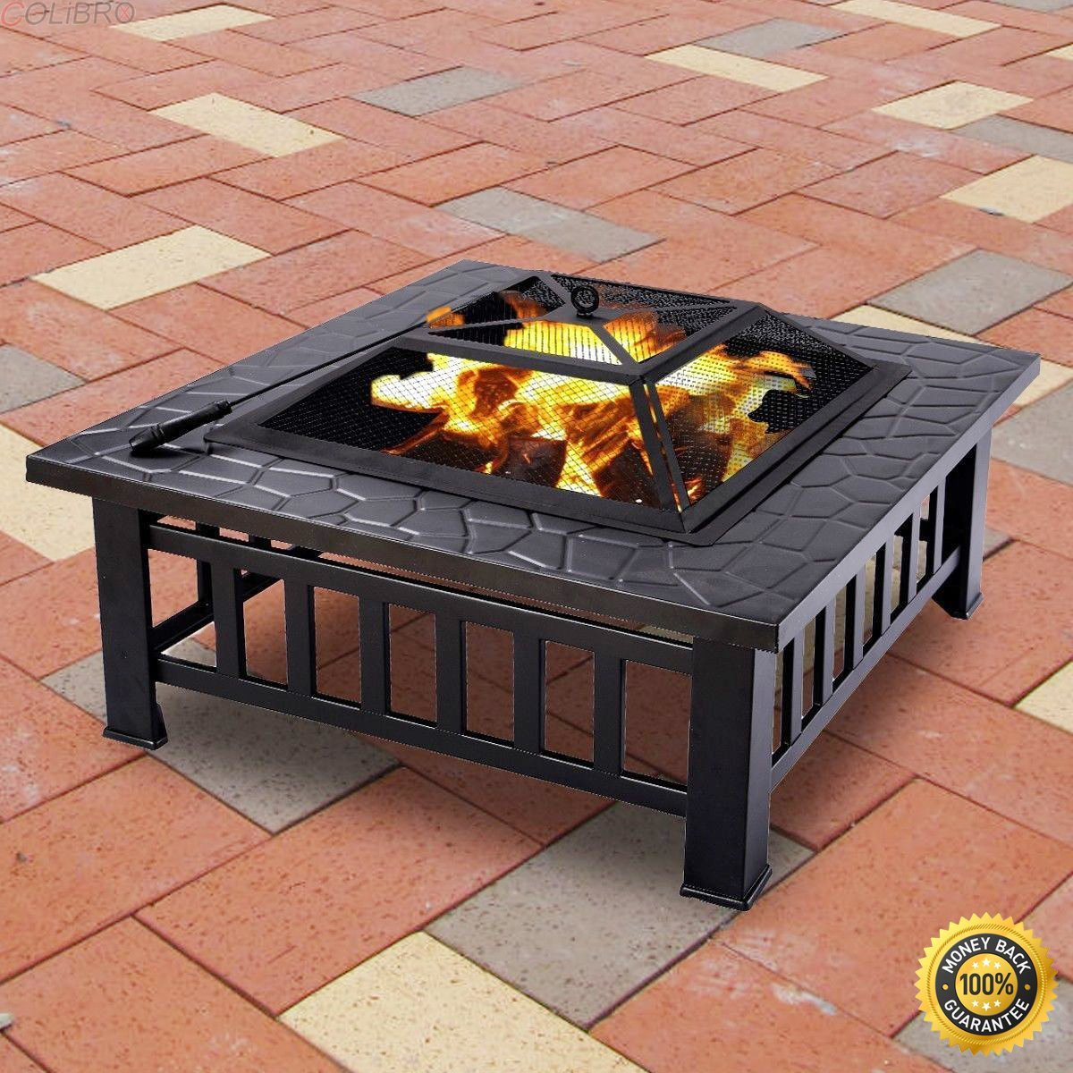 Get Quotations Colibrox Outdoor 32 Metal Firepit Patio Garden Square Stove Fire Pit Brazier New