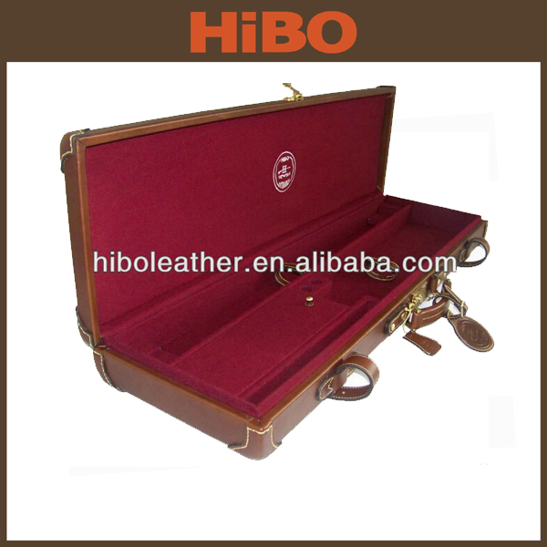 Factory promotion with ourter double strap break down shotgun genuine leather gun case