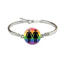 Радужный Шарм-браслет LBGT, гомосексуальный стеклянный браслет для геев и лесбиянок(Китай)