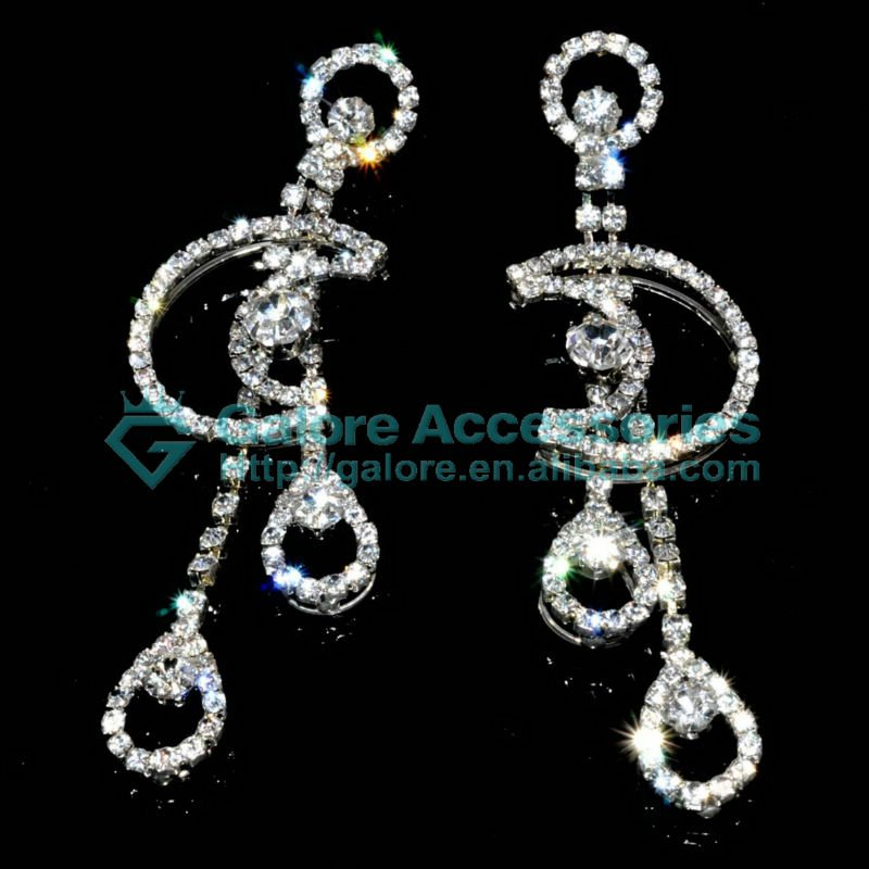 rhinestone moon and star earrings silver color