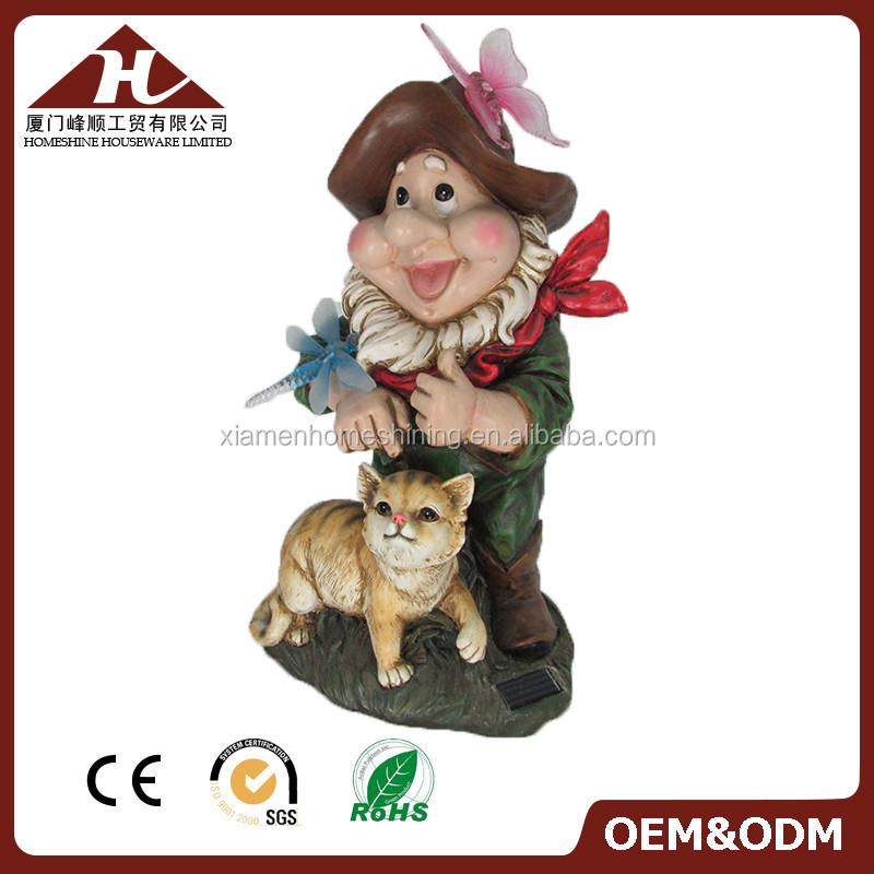 resin garden gnome water fountain for decor