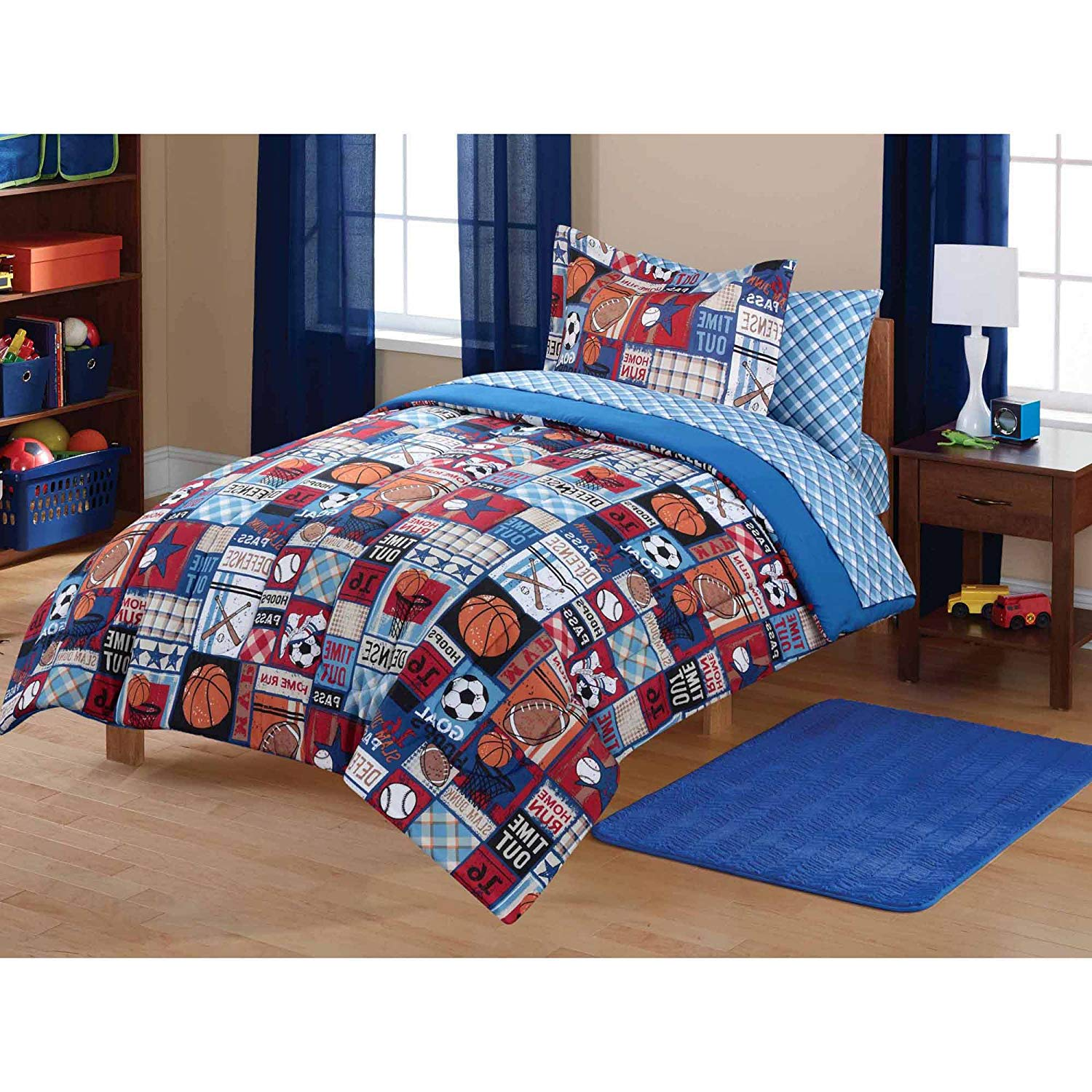 7 Piece Multi Color Patchwork Sports Theme Comforter Set Full With Sheets, Brown Blue Red All Over Football Basketball Badminton Checkered Printed, Reversible Navy White Checkered