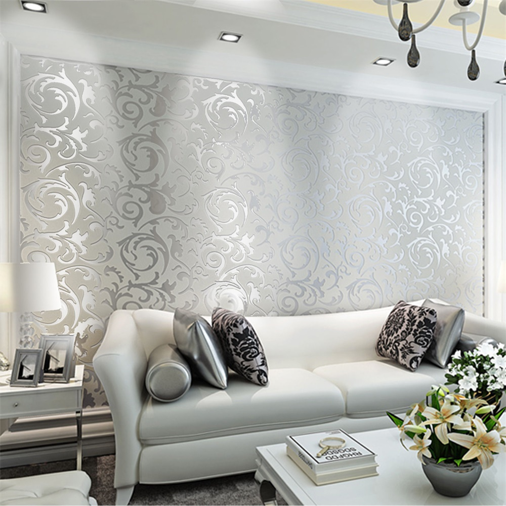 3d Victorian Damask Embossed Wallpaper Rolls Feature Tv Background