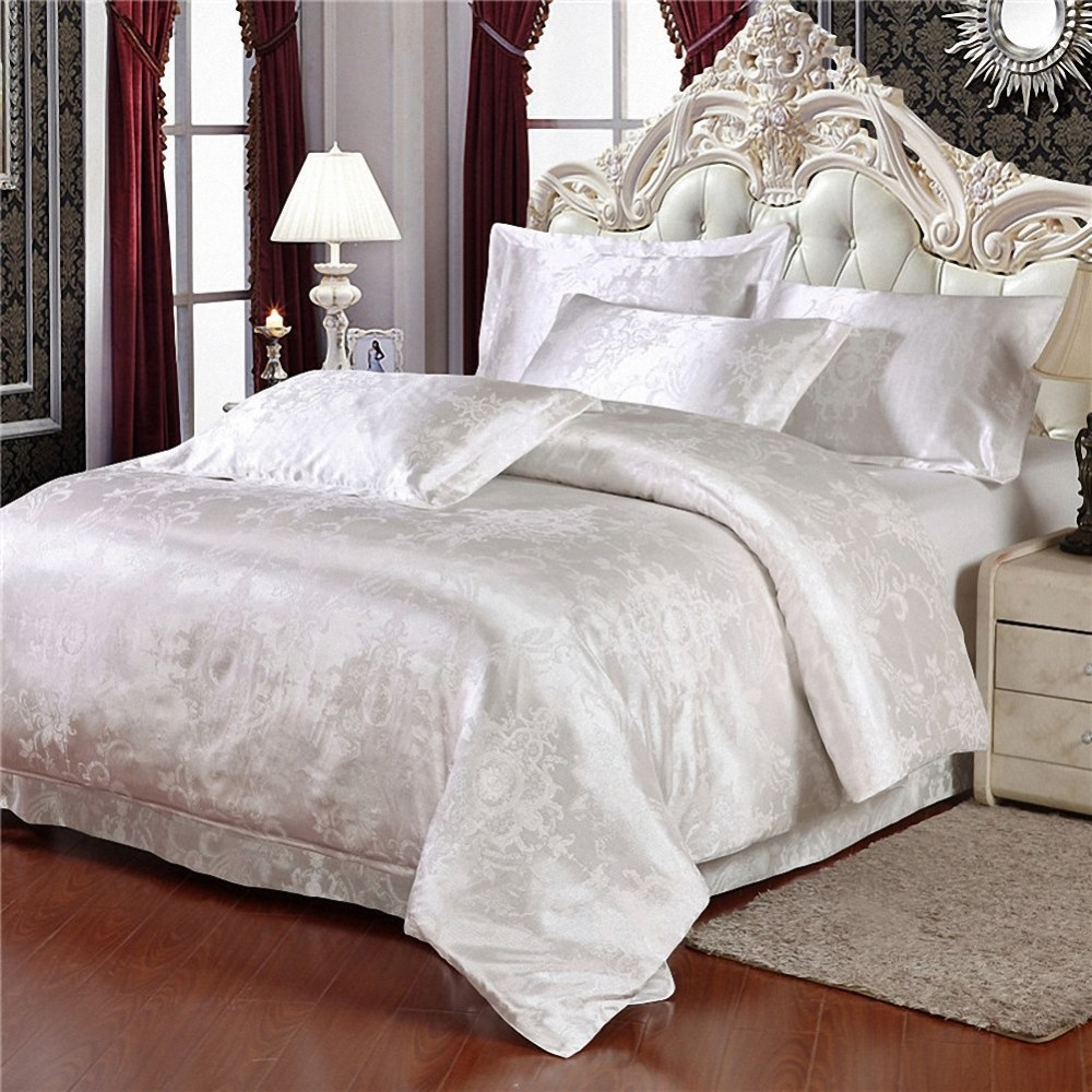 linen product bedding queen silk set bed home chinese textile detail