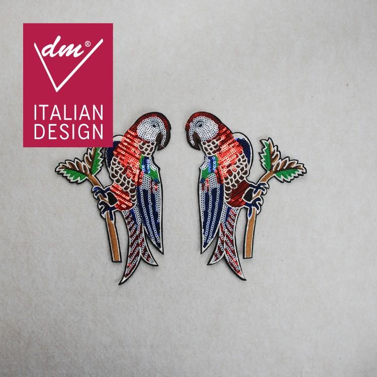Diseños Únicos Lentejuelas Loro Pájaros Bordado Patch Diseños De ...