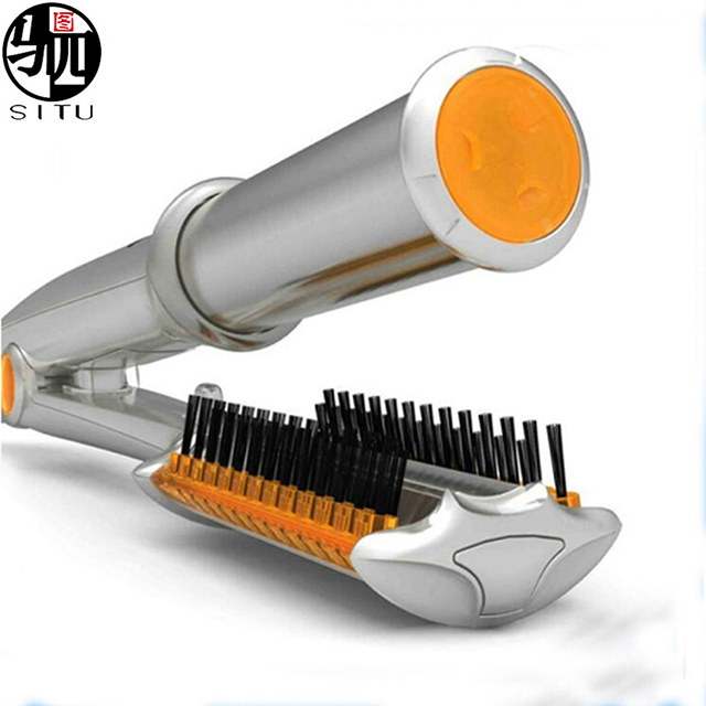 Hair Straightening and Curling Hot Brush for Long Hair Ceramic Straightener with Anti-Burn Hair Comb