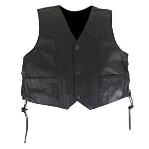 Kids Side Laced Biker Leather Vest 4XL