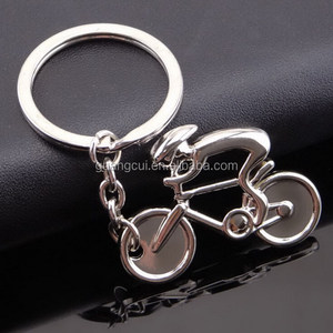 Wholesale custom silver plated metal man riding bike keychain key ring
