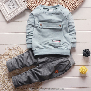 Wholesale new in 2018 baby suits big bag + trousers children tracksuit for boys and girls organic cotton children clothing sets