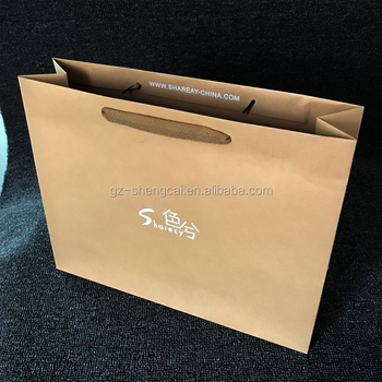 f9f92568d new style white logo brown kraft wholesale custom paper shopping bag in  alibaba china
