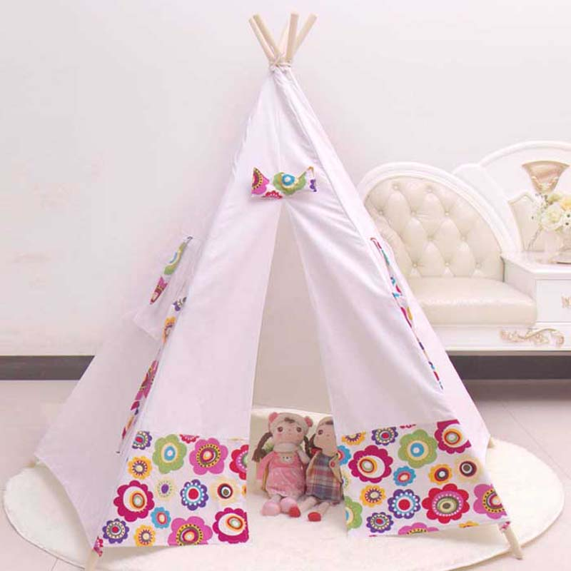 100 cotton teepee kid tent fabric houses to play kids play tent child tent indoor tents for. Black Bedroom Furniture Sets. Home Design Ideas