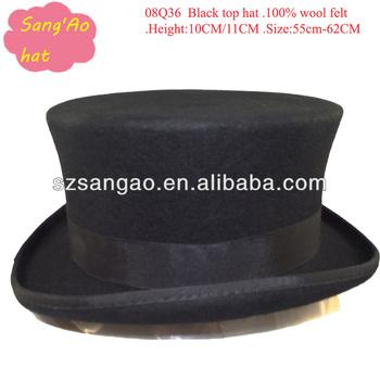 6c95280f717 Black 10cm Fashion Felt Top Hat Men For Wholesale - Buy Top Hat ...