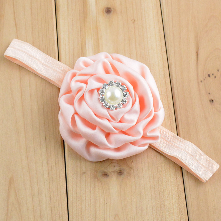 NEW fashion custom baby hair band fabric ribbon rose elastic lace flower headband