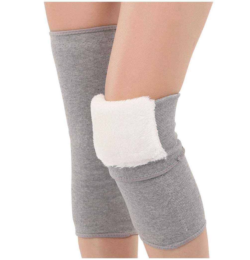 1Pair Grey Unisex Thicken Plush Wool Thermal Winter Warm Knee Pads Joint Brace Support Sleeve Pad Kneecap Protector for Leg Warmer Arthritis Old Men Women(L for 132 lbs ~154 lbs)
