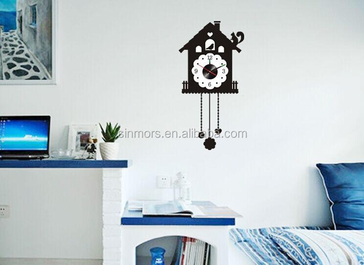 Black Cuckoo Clock Vinyl Wall Decals Letter D Wall Stickers Clock - Wall decals clock