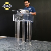 JINBAO Commercial Glass Pulpit School Podium Acrylic Church Lectern With Good Quality